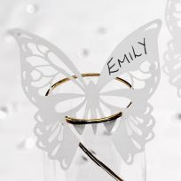 Elegant Butterfly Laser Cut Place Cards For On Glasses - White (10)
